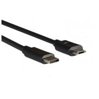 AQ KCK USB 3.1C samec - micro USB samec Čierna