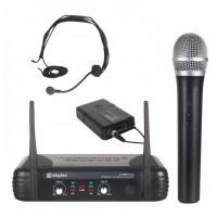 Skytec VHF mikrofonní set 2 kanálový, 1x ruční mikrofon, 1x náhlav