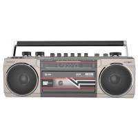 QTX Retro kazetový přehrávač BT/MP3/radio, stříbrný