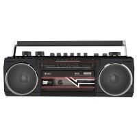 QTX Retro kazetový přehrávač BT/MP3/radio, černý