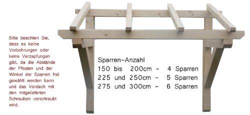 H.A.P PREMIUM Holz Vordach Pultvordach Haust/ür T/ür /Überdachung //// BREITE NATUR Sparren 6 x 8 x 130 cm //// Balkenst/ärke 9x9 cm //// Unbehandelt 150cm //// TIEFE