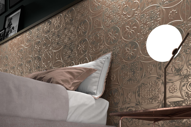 Vintage look 3D tegels in bronskleur