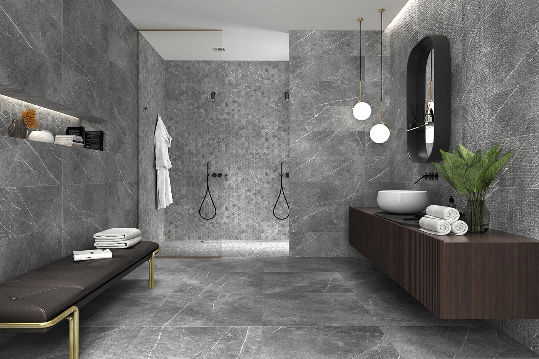 Grijze marmerlook tegels met bijpassende tegels met een andere textuur en patroon