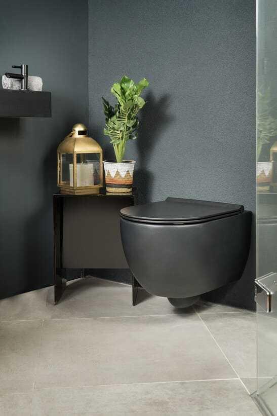 Mat zwart toilet met bijpassende fonteinset