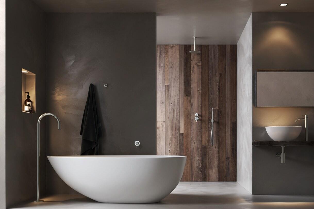 Luxe badkamer met vrijstaand mat wit bad en regendouche
