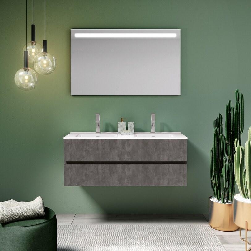 Stoer betonlook badmeubel met verlichte spiegel