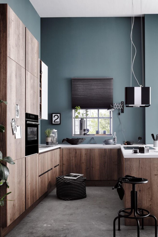 Compacte moderne houten keuken