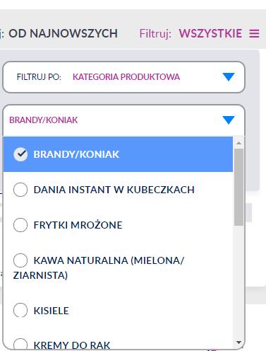 filtrowanie po kategorii produktowej