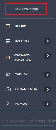 menu - edycja profilu użytkownika