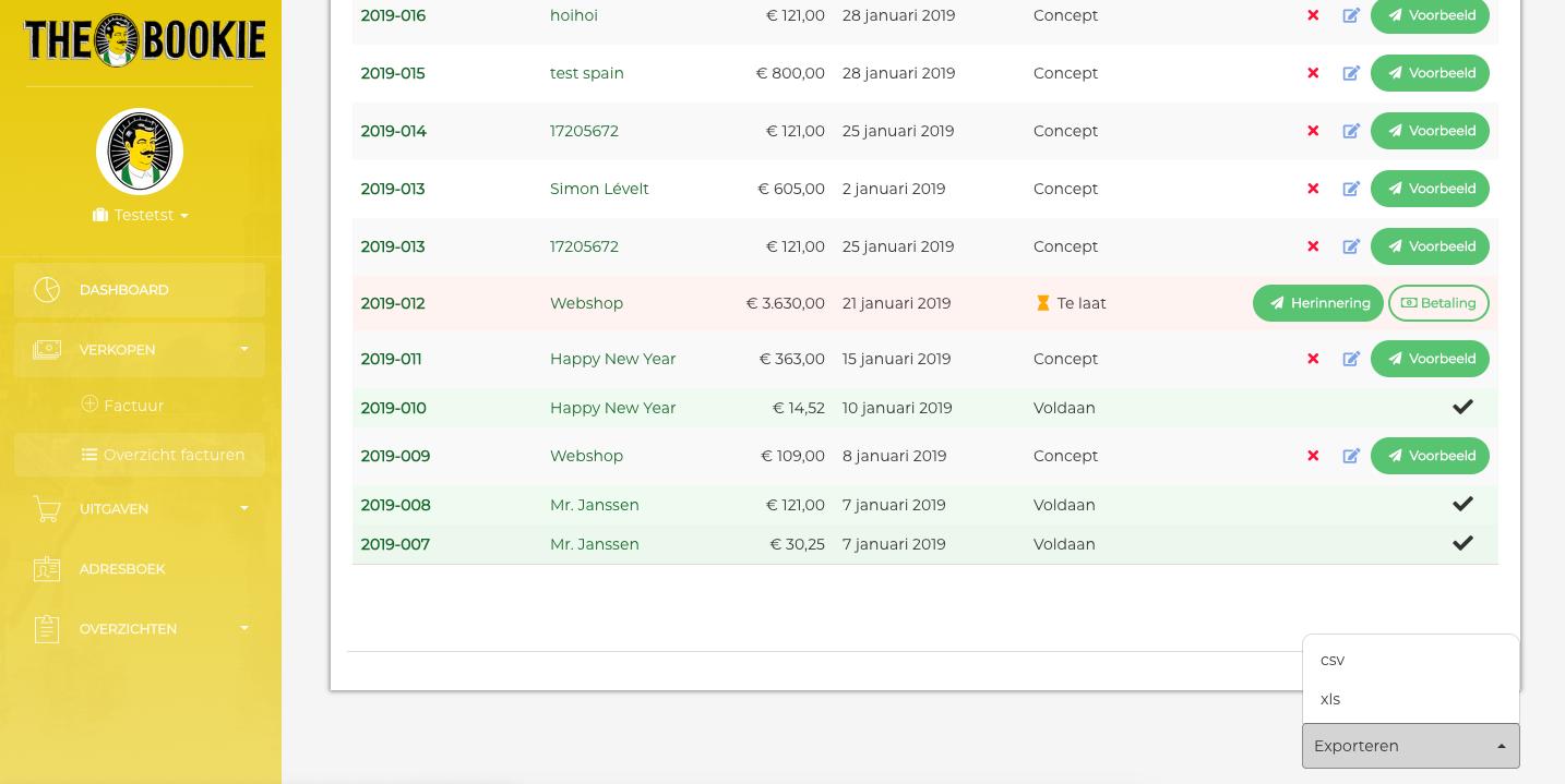 Export boekhouding vanuit app