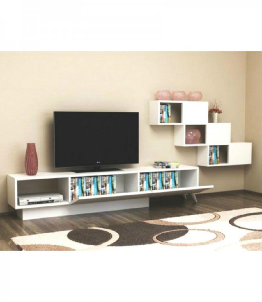 طاولة تلفزيون-اللون ابيض