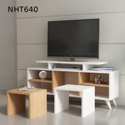 طاولة تلفاز موديل كاتيا - بيج مع أبيض NHT640