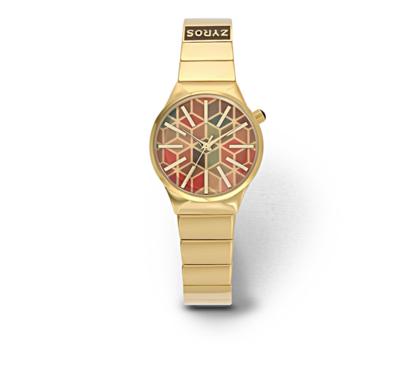 ساعة زايروس ذهبية بنقوش ملونة