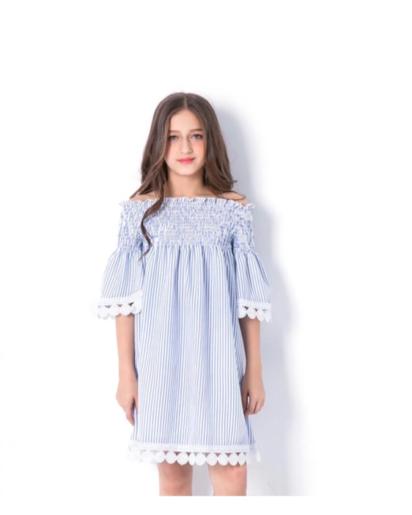 فستان كتف بناتي باللون الأزرق