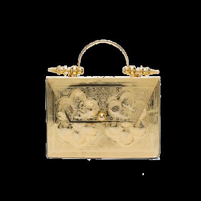 حقيبة ميني مطلية بالذهب