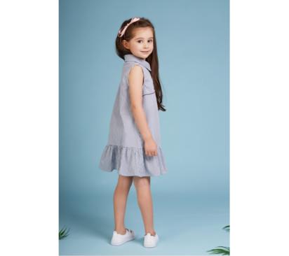 فستان بناتي انيا مخطط بكشكشة
