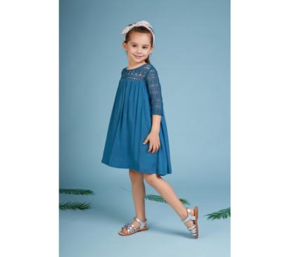 فستان بناتي انيا أزرق بأكمام منقوشة
