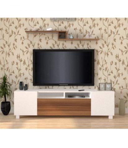 طاولة تلفزيون-اللون ابيض وبني