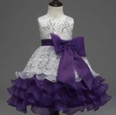 فستان الترتر المفصل فستان الأميرة الأرجواني للبنات