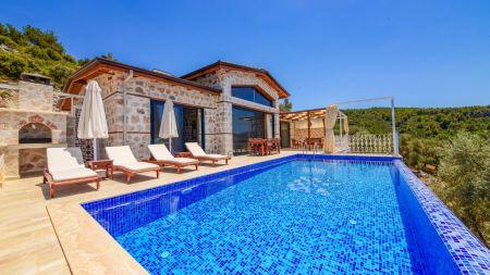 Ahşap ve Taş Mimarisinin Mükemmel Buluşumu ile Geniş Manzaralı Villa