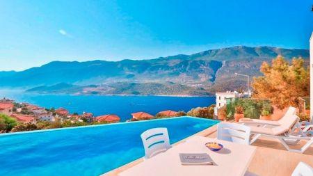Kaş Çukurbağ'da Muhteşem Deniz Manzaralı, Özel Havuzlu Villa