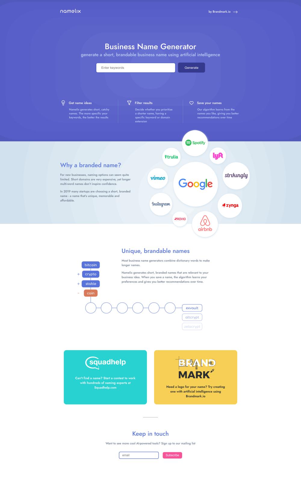 Namelix Design Inspiration | TopHuntFolio