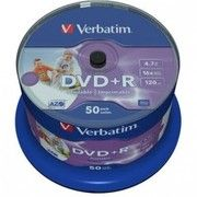 фото DVD+R Verbatim 4.7Gb 16X CakeBox 50штWidePrintable (43512)