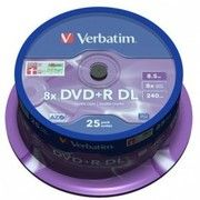 фото DVD+R Verbatim 8.5Gb 8x CakeBox 25шт Matt Silver (43757)
