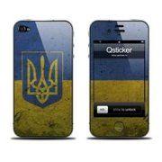 фото Qsticker Виниловая наклейка для iPhone 4S Flag Of Ukraine