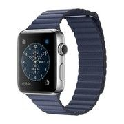 фото Apple Watch Series 2 42mm Stainless Steel Case with Midnight Blue Leather Loop Band (MNPW2)