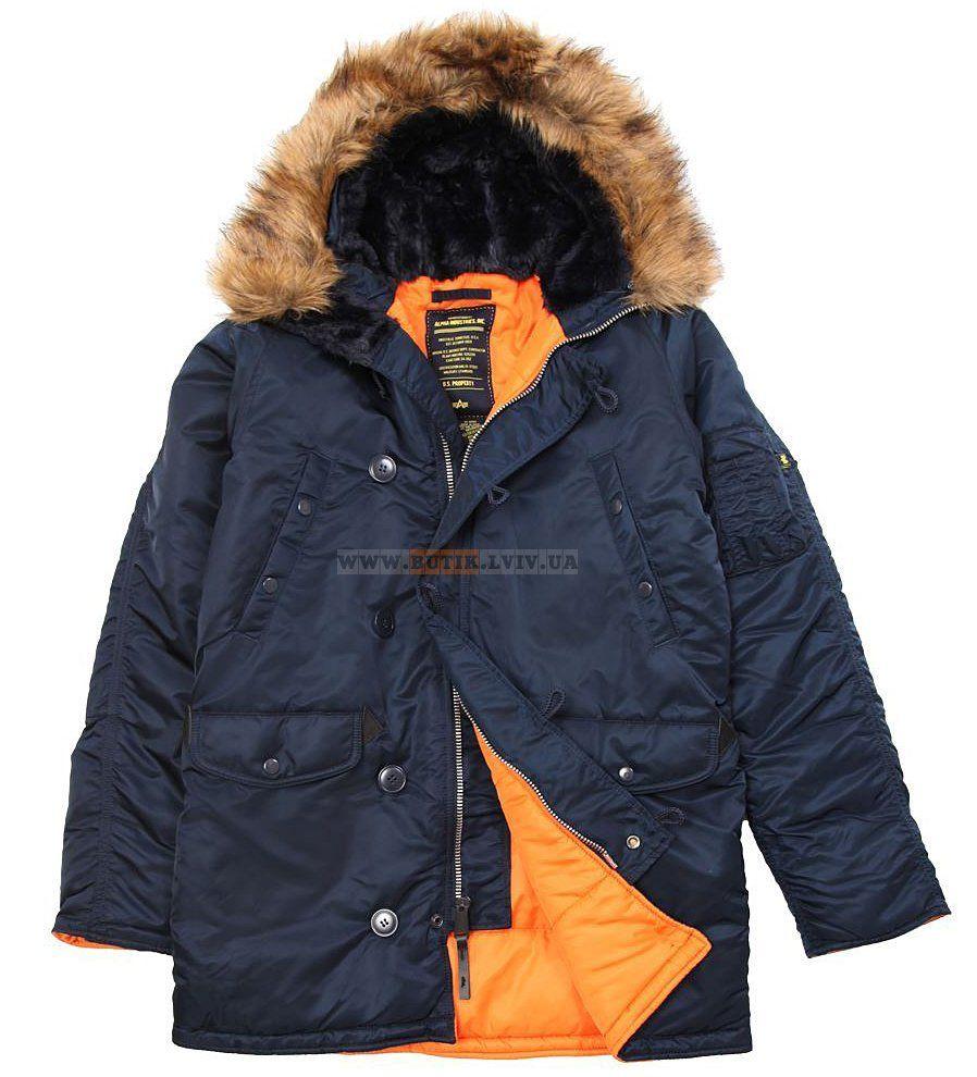 Куртка аляска Slim Fit N-3B Parka Alpha Industries (синя)