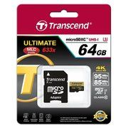 фото Transcend 64 GB microSDXC UHS-I U3 Ultimate + SD Adapter TS64GUSDU3