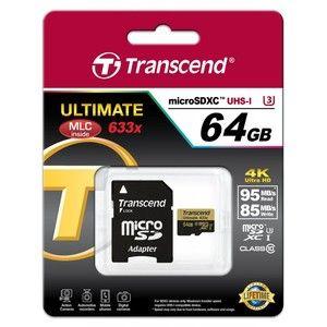 фото Transcend 64 GB microSDXC UHS-I U3 Ultimate + SD Adapter TS64GUSDU3