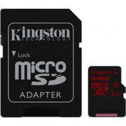 фото Kingston 64 GB microSDXC class 10 UHS-I U3 + SD Adapter SDCA3/64GB