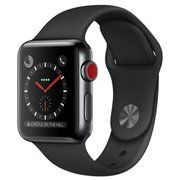фото Apple Watch Series 3 GPS + Cellular 38mm Space Black Stainless Steel w. Black Sport B. (MQJW2)