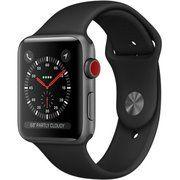 фото Apple Watch Series 3 GPS + Cellular 42mm Space Gray Aluminum w. Black Sport B. (MQK22)