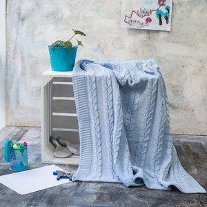 фото Плед детский хлопоковый Vividzone СМАЙЛ 110х120 голубой