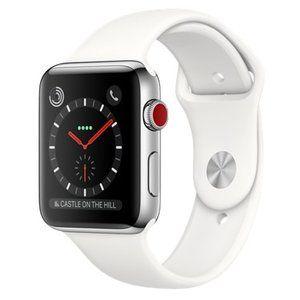фото Apple Watch Series 3 GPS + Cellular 42mm Stainless Steel w. Soft White Sport B. (MQK82)