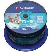 фото Verbatim CD-R Printable 700MB 52x Spindle Packaging 50шт (43309)