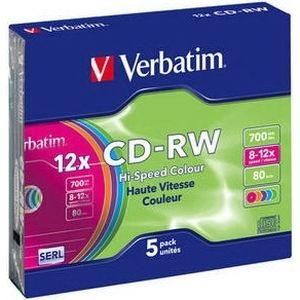 фото Verbatim CD-RW 700MB 12x Slim Case 5шт (43167)