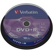 фото Verbatim DVD+R 4,7GB 16x Cake Box 10шт (43498)