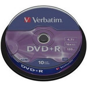 фото Verbatim DVD+R 4,7GB 16x Cake Box 10шт (43498)