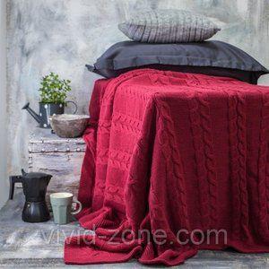 фото Покрывало вязаное Vividzone КОЛОС 180х210 красный