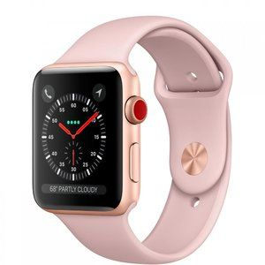 фото Apple Watch Series 3 GPS + Cellular 38mm Gold Aluminum Case with Pink Sand Sport Band (MQJQ2)