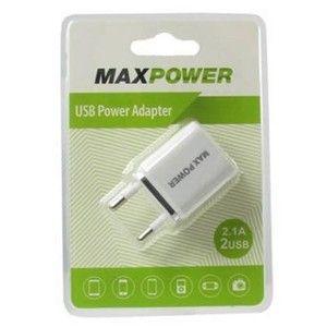 фото MaxPower Double 2.1A+1A White/Silver (33828)