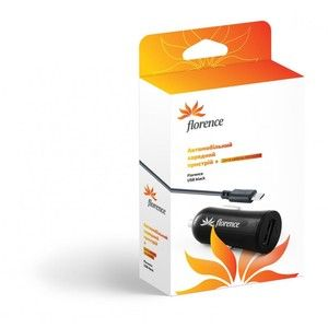 фото Florence USB 1200mA, cable microUSB Black (CC12-MU)