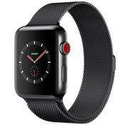фото Apple Watch Series 3 GPS + Cellular 42mm Space Black Stainless Steel w. Space Black Milanese L. (MR1L2)