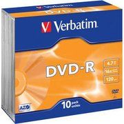 фото Verbatim DVD-R 4,7GB 16x Slim Case 10шт (43655)
