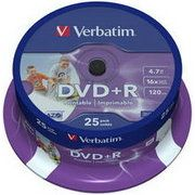 фото Verbatim DVD+R Printable 4,7GB 16x Spindle Packaging 25шт (43539)