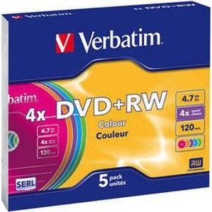 фото Verbatim DVD+RW 4,7GB 4x Slim Case 5шт (43297)